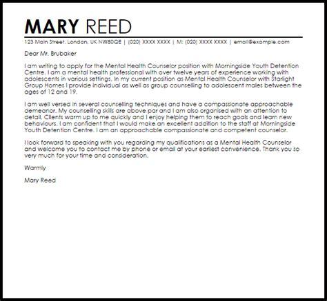 mental health counselor cover letter sample cover letter