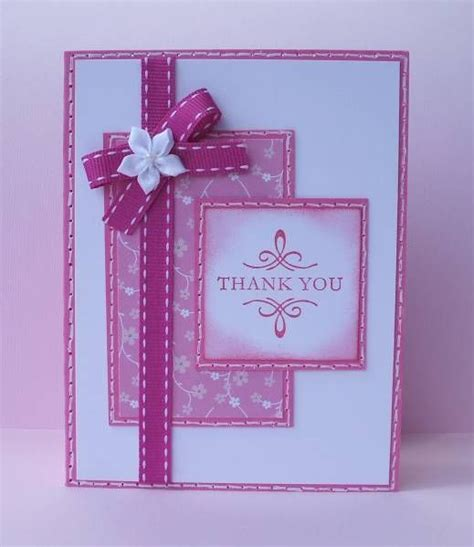 Handmade Cards Using Ribbon - handmade card monochromatic magenta elements like
