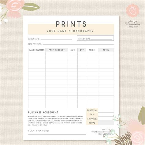 photography order form template excel order form template photography order form photography