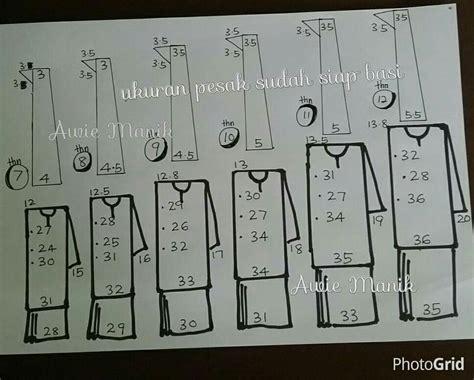 ukuran baju ukuran kikek pesak baju sekolah by noraini yaacob
