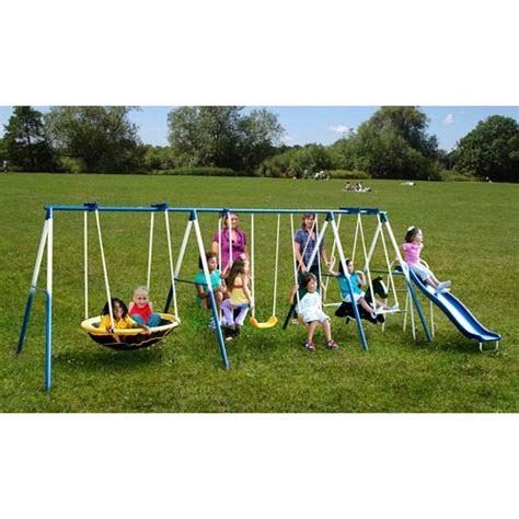 swing sets walmart sportspower super 8 fun metal swing set