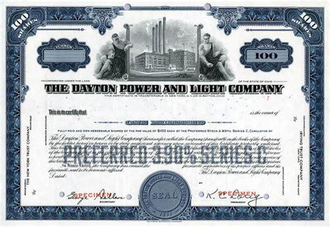 dayton power light company dayton power light stock certificate 100 shares