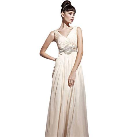 beige chiffon wedding dress with jewelled belt by elliot