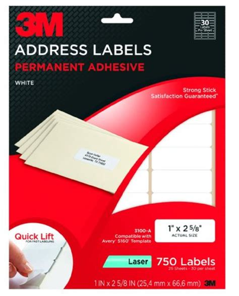 3m Products 3m Permanent Adhesive Clear Mailing Labels For Laser Printers 1 X 2 5 8 750 3m Label Template