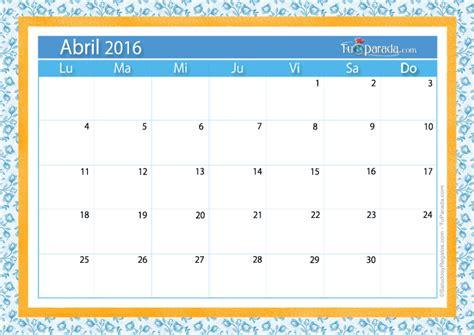 Abril Calendario Calendario Abril 2016 Calendarios Mensuales Tarjetas