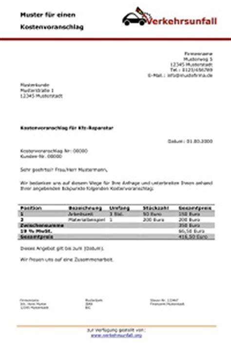 kfz reparatur vergleich kostenvoranschlag f 252 r die autoreparatur verkehrsunfall org