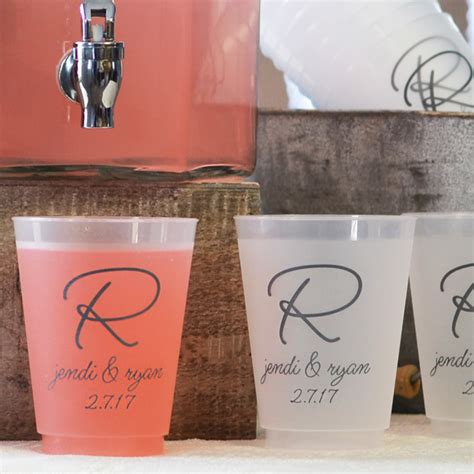 Plastic Wedding Cups   Personalized 16 Oz. Frosted   My