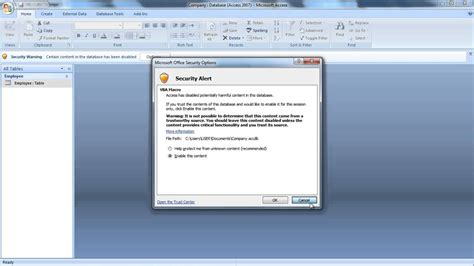 how to disable microsoft office access security notice