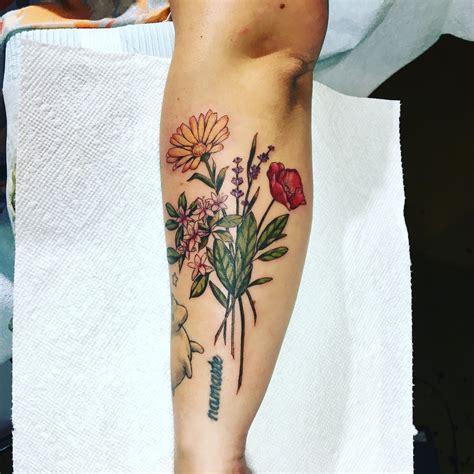 white rabbit tattoo studio calendula poppy honeysuckle with herbs at white rabbit