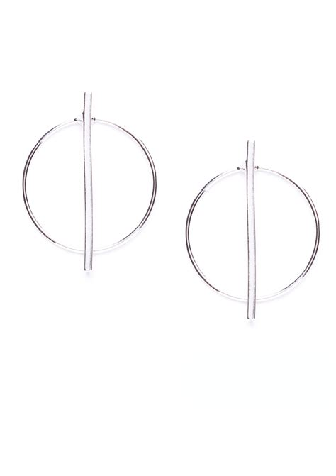 Geometric Hoop Earrings geometric hoop earrings silver happiness boutique