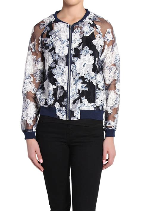 Sheer Jacket themogan zipper front floral printed organza sheer bomber