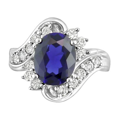 lab created oval sapphire and white sapphire sterling