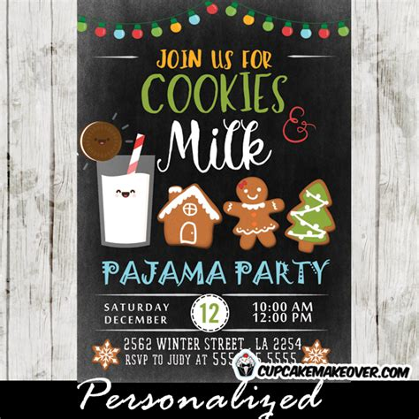 ideas for funny christmas pajama party milk and cookies pajama invitations cookie exchange cupcakemakeover