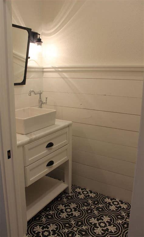 stunning farmhouse style powder room renovation  includes gray  gold tones shiplap