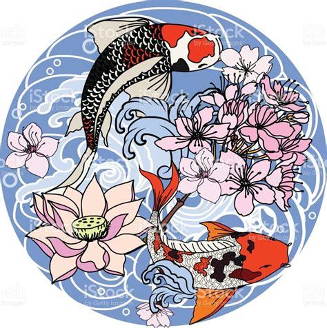 koi fish drawing color koi fish in circle japanese carp line drawing