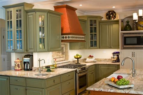 green cabinets kitchen green kitchen cabinets kitchen eclectic with beige tile