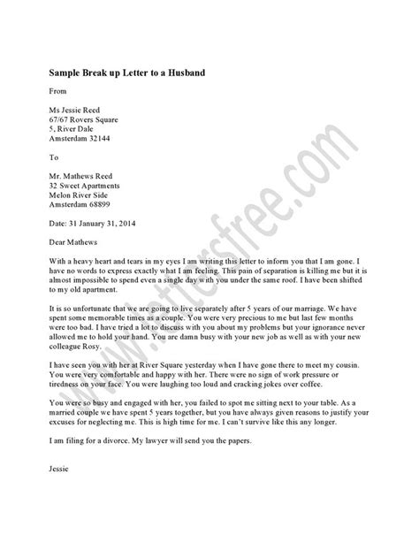 Divorce Letter To Husband Format Writing A Breakup Letter To Your Husband Is The Most Task After Years Of Married