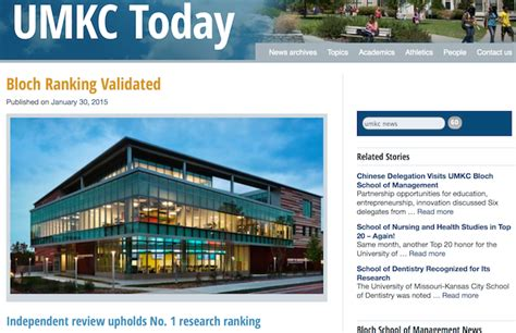 Mba Kansas City by Bloch School Kicked Out Of Ranking