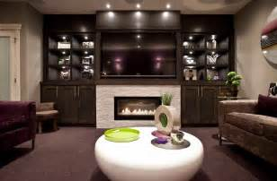 Fireplace with built in shelves family room contemporary with tile