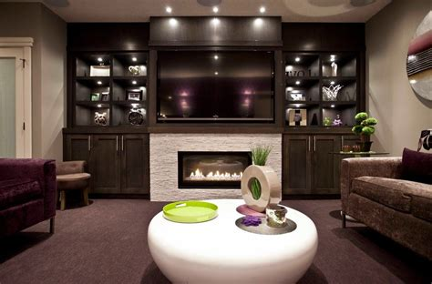 Home Theater Decor Pictures Fireplace With Built In Shelves Family Room Contemporary
