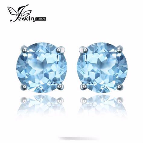 Blue Topaz Ring Perak 925 Chrome jewelrypalace 2ct sky blue topaz birthstone stud earrings genuine 925 sterling