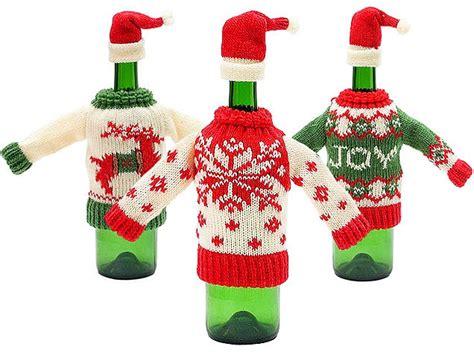 aytai 3pcs ugly christmas sweater wine bottle cover handmade wine bottle sweater for christmas decorations ugly christmas sweat our tacky decor