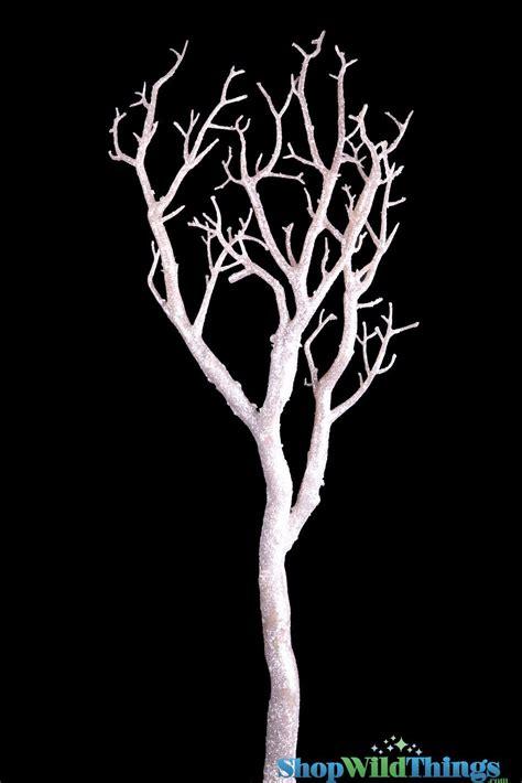 white branch tree manzanita branch white glittered finish 32 quot for