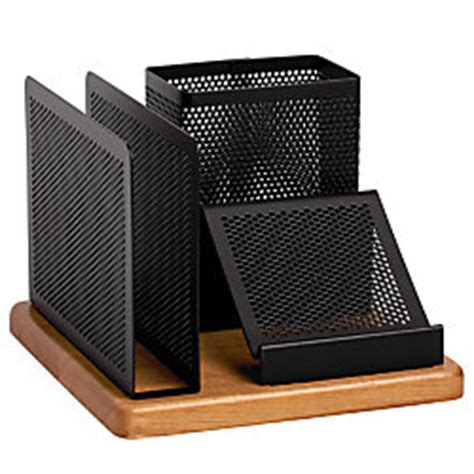 rolodex distinctions punched metal and wood desk organizer