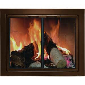 open or closed glass doors of wood burning fireplace