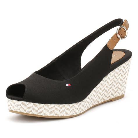 Heels 10cm hilfiger womens wedge sandals peep toe ankle