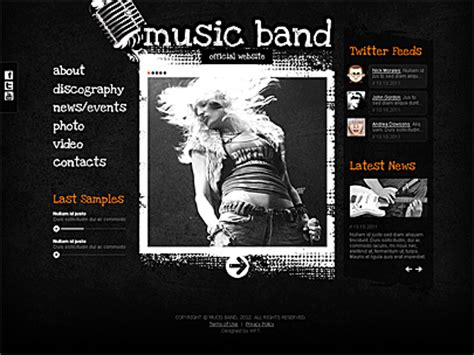 band templates band joomla website theme free tonytemplates