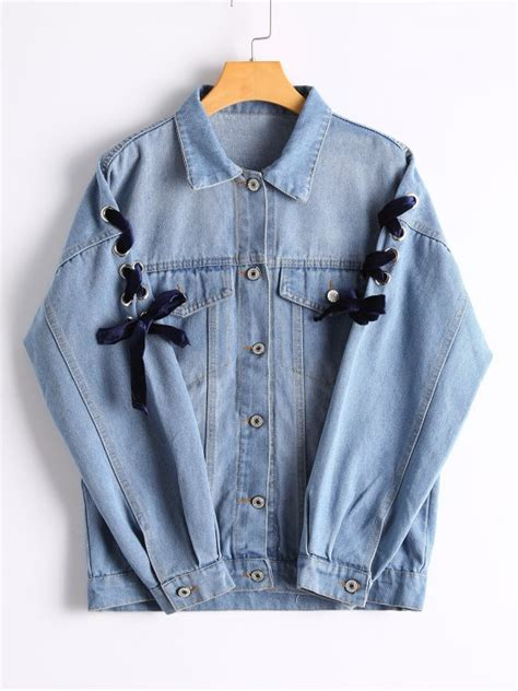 2018 lace up sleeve button up denim jacket in blue l zaful
