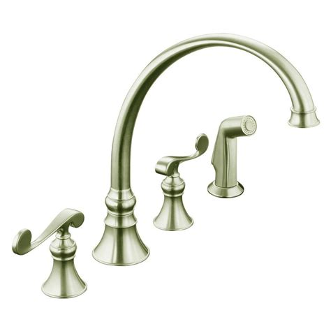 4 kitchen faucet kohler revival 4 2 handle standard kitchen faucet in vibrant brushed nickel k 16109 4 bn