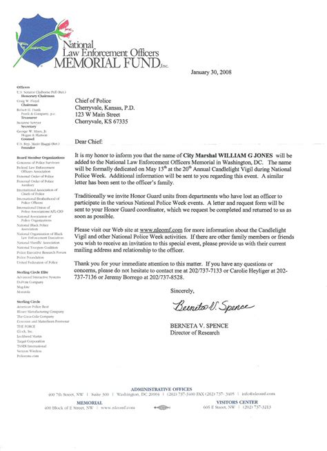 Enforcement Thank You Letter After Sle Letter Of Funeral Donation Just B Cause