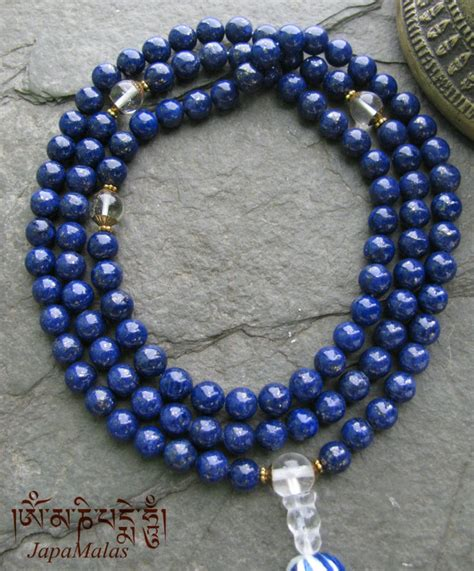 what is a guru bead lapis lazuli japa mala with quartz guru bead
