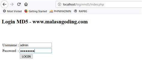 membuat user login dengan php membuat login dengan php dan mysqli menggunakan md5
