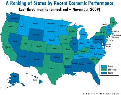 economic map of united states economic activity picks up in thirty one states in november