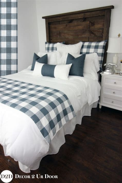 Farmhouse Bedding Sets Farmhouse Gunmetal Gingham Check Plaid Custom Designer Beddi