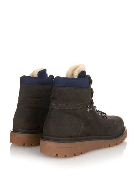 moncler shearling lined suede hiking boots in brown for