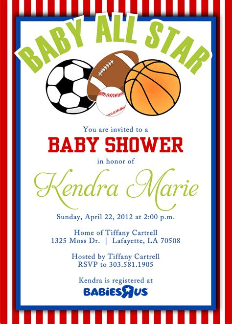 Sports Themed Baby Shower Invitation Templates Cloudinvitation Com Themed Invitations Free Templates