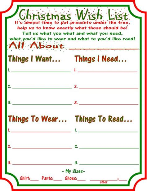 letter to santa template want need want need wear read christmas wish lists merry