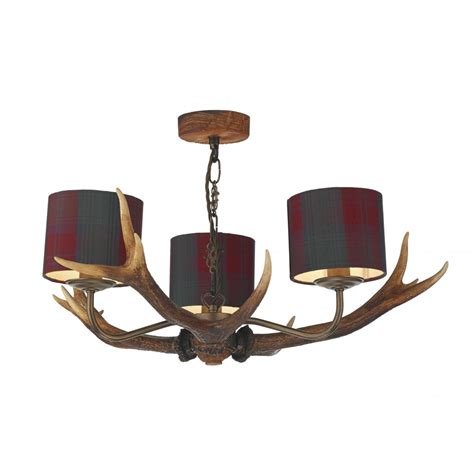 Antler Ceiling Light Rustic Stag Antler Ceiling Pendant Highland Colours With Tartan Shades