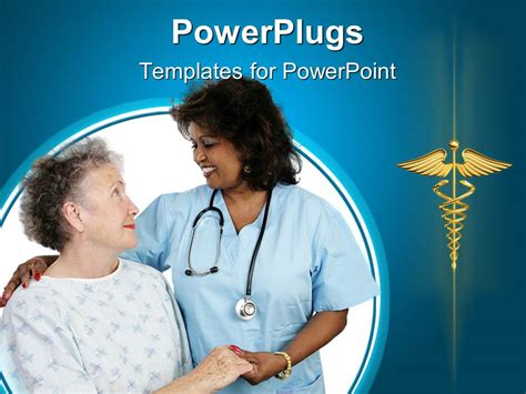 Powerpoint Template Elderly Patient Holding Hands With A Nurse 16210 Nursing Powerpoint Templates