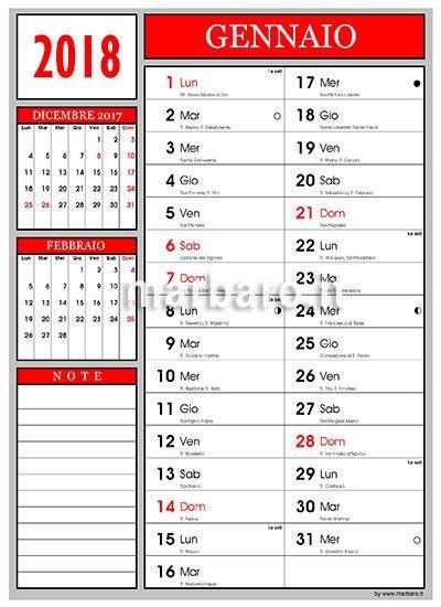 Calendario 2018 Italiano Con Festività Calendario 2018 Con Lune E Numeri Settimana Da Stare
