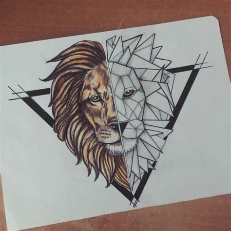 geometric lion tattoo half geometric in black triangle frame
