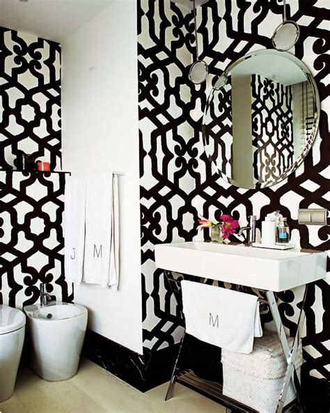 black white wallpaper decorating bath room lavatory