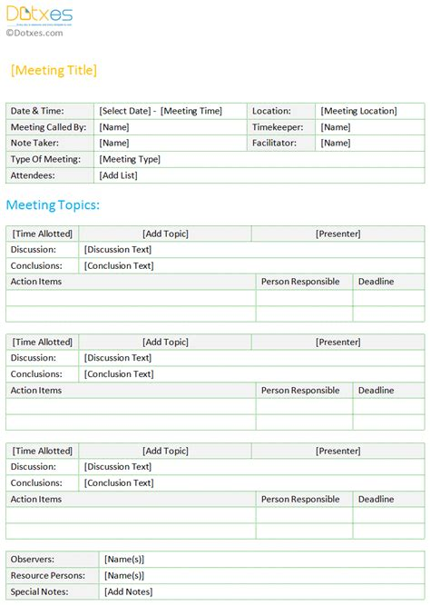 standard minutes of meeting template minutes of meeting template standard format dotxes
