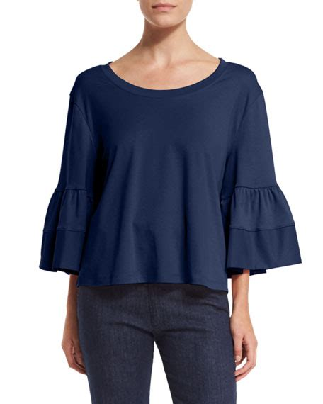 vanna bell sleeve blouse navy the best bell sleeve tops on trend for fall 2017