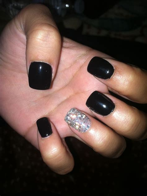 Manicure Gel black gel nails with one silver glitter nail nails
