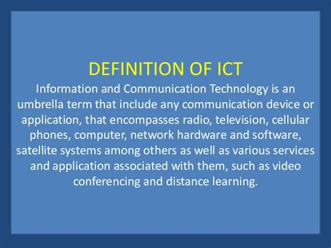 ict information communication technology introduction to ict and its application to instructional